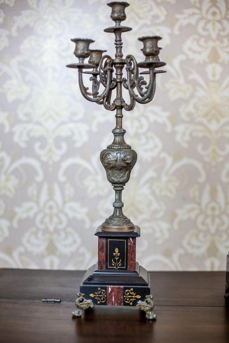 19th Century S. Marti & Cie Mantle Clock Set For Sale 7