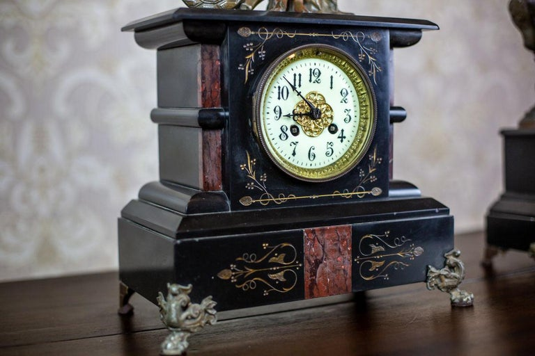 Marble 19th Century S. Marti & Cie Mantle Clock Set For Sale