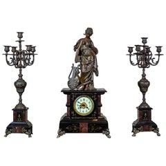 19th Century S. Marti & Cie Mantle Clock Set
