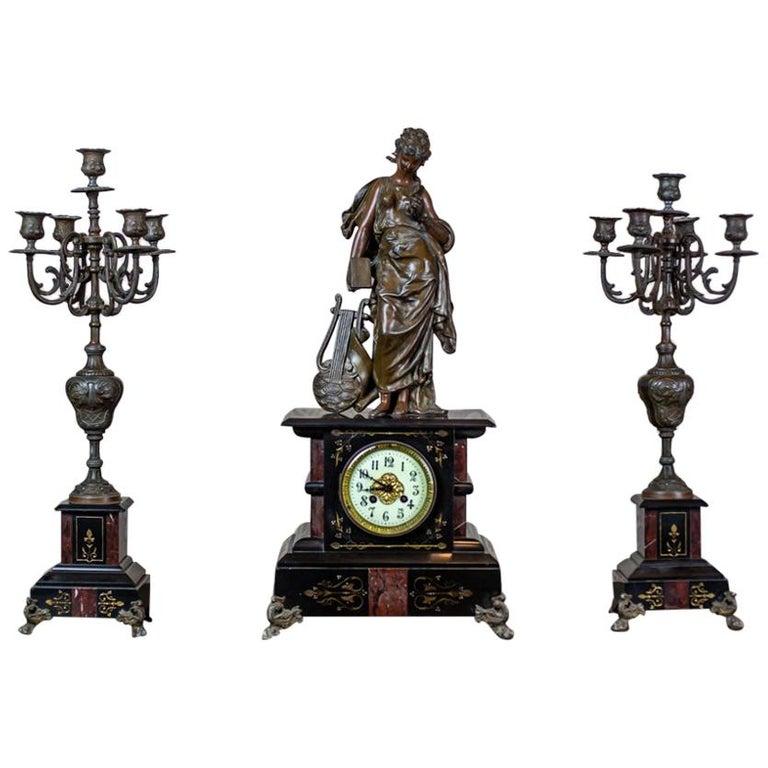 19th Century S. Marti & Cie Mantle Clock Set For Sale