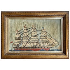 19th Century Sailor's Wool Work of Four Masted Ship