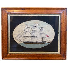 19th Century Sailor's Woolie of Double Decker Ship of the Line, circa 1860