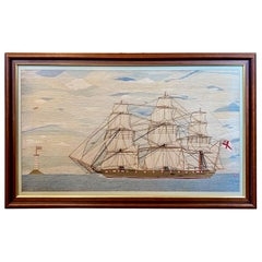 Large 19th Century Sailor's Woolie of Ship and Lighthouse, circa 1870