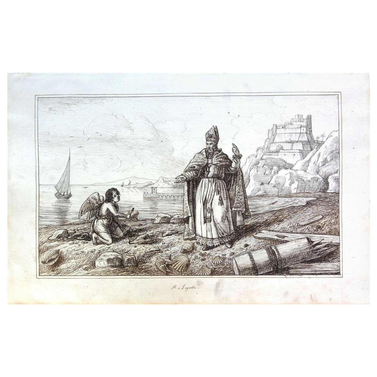 """19th Century """"Saint Augustin"""" Watercolor Drawing on Paper from the 18th Century"""