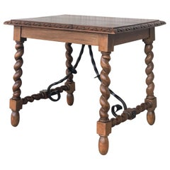 19th Century Salomonic Baroque Side Table with Carved Top and Iron Stretchers