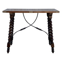 19th Century Salomonic Baroque Side Table with Inlays, Marquetry & Stretchers