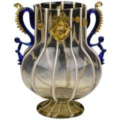 Mundgeblasene venezianische Kunstglas-Vase von Salviati & Co., 19. Jahrhundert