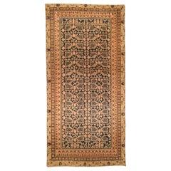 19th Century Samarkand 'Khotan' Indigo Blue and Beige Hand Knotted Wool Rug