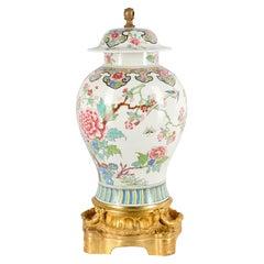 19th Century Samson Famille Rose Style Ormolu Mounted Vase / Lamp