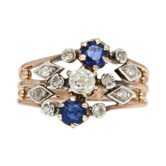 19th Century Sapphire Diamond 18 Karat Rose Gold 3 Rings Ring