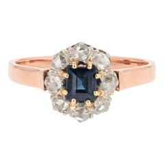 19th Century Sapphire Diamond 18 Karat Rose Gold Ring