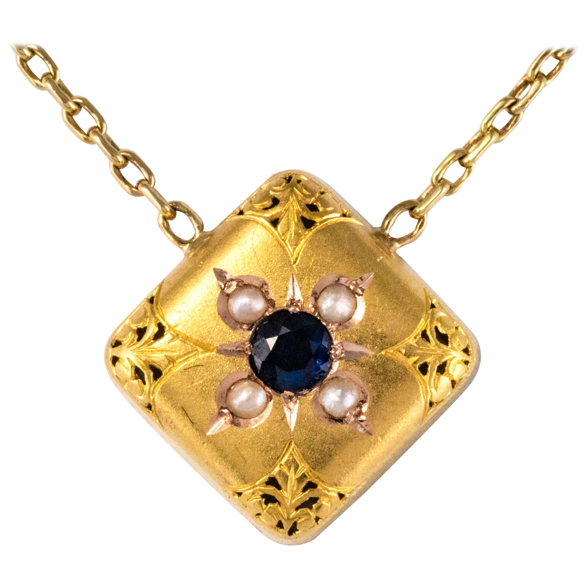 19th Century Sapphire Natural Pearl 18 Karat Yellow Gold Chain Pendant