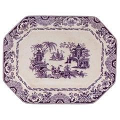 19th Century Sargadelos Ceramic Transferware Octagonal Serving Plate