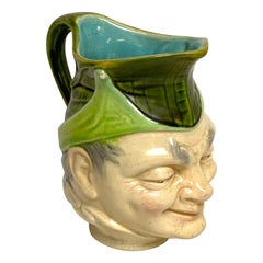 19th Century Sarreguemines Majolica Character Pitcher