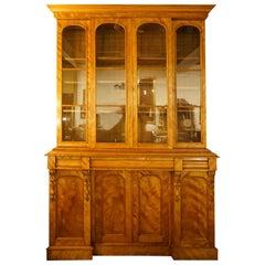 19th Century Satin Birch Breakfront Bookcase