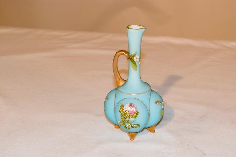 Hand-Painted 19th Century Satin Glass Cruet For Sale