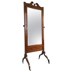19th Century Satinwood and Marquetry Cheval Dressing Mirror