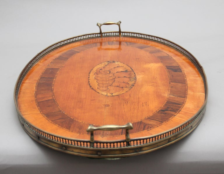 Victorian 19th Century Satinwood, Brass and Inlaid Tray For Sale