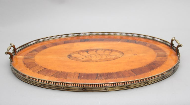 19th Century Satinwood, Brass and Inlaid Tray In Good Condition For Sale In Martlesham, GB