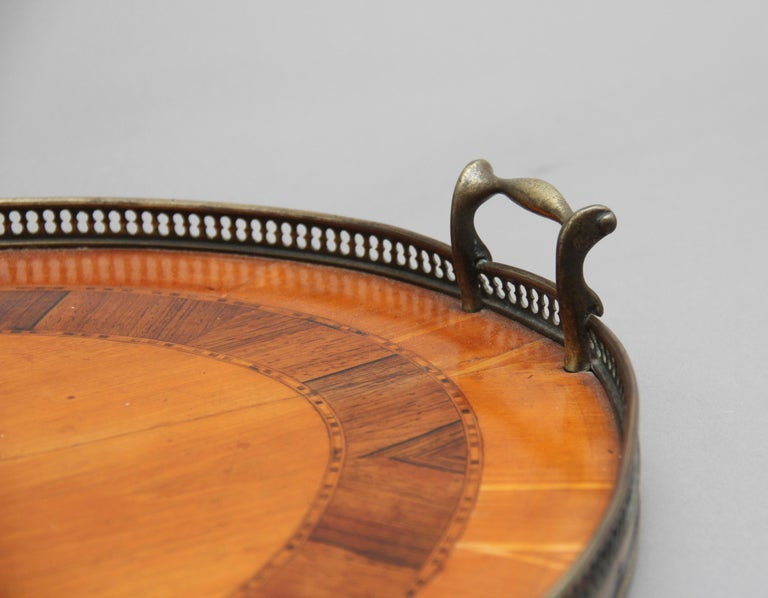 Mid-19th Century 19th Century Satinwood, Brass and Inlaid Tray For Sale