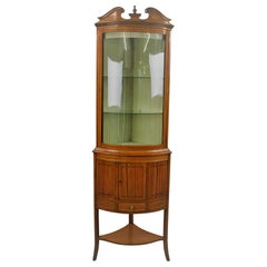 19th Century Satinwood Corner Display Cabinet