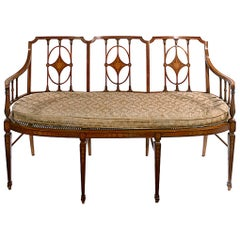19th Century Satinwood Framed Sheraton Revival Settee