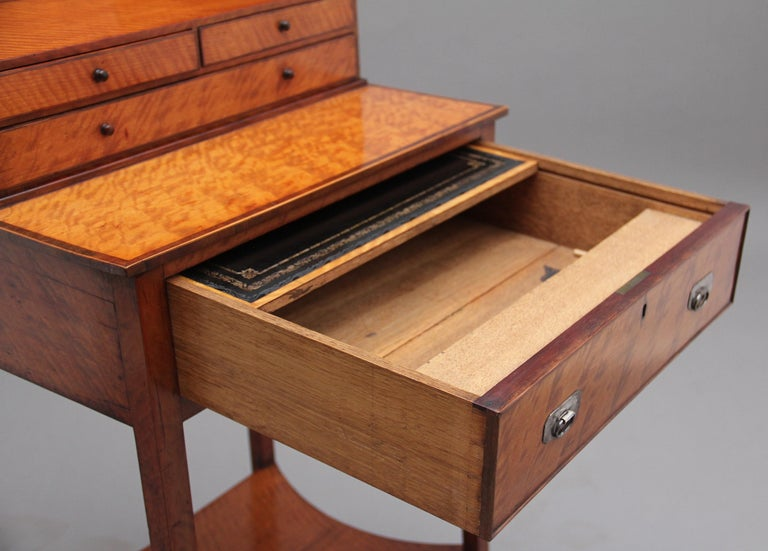 19th Century Satinwood Ladies Writing Table in the Sheraton Style For Sale 5
