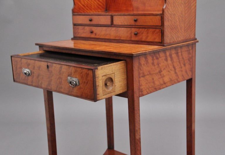 19th Century Satinwood Ladies Writing Table in the Sheraton Style For Sale 6
