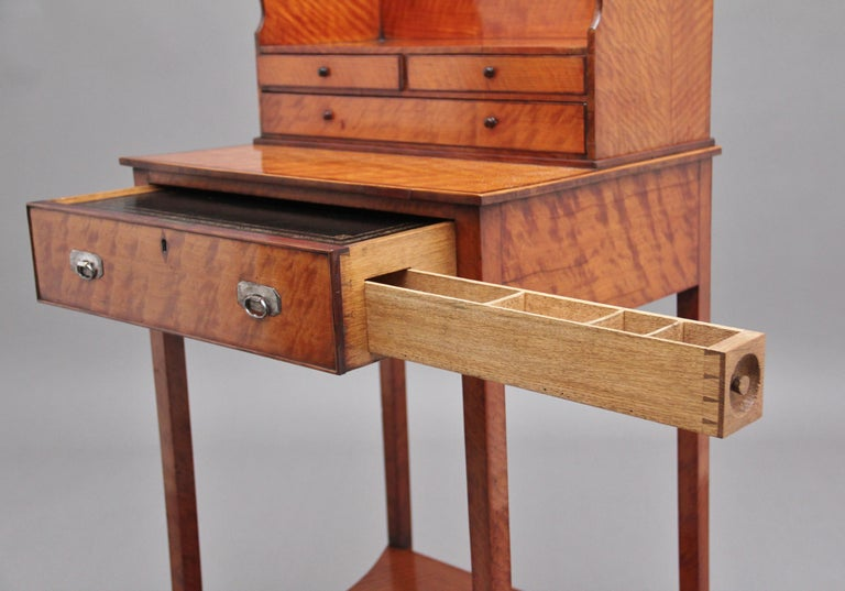 19th Century Satinwood Ladies Writing Table in the Sheraton Style For Sale 7