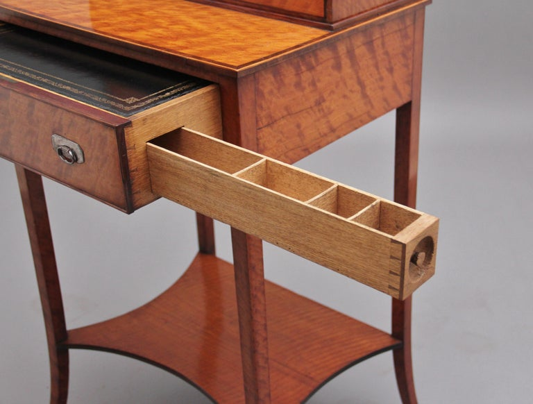 19th Century Satinwood Ladies Writing Table in the Sheraton Style For Sale 8