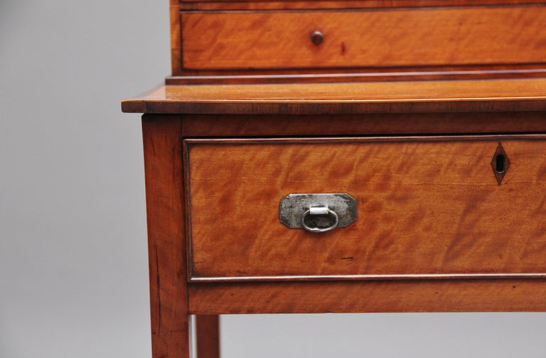 19th Century Satinwood Ladies Writing Table in the Sheraton Style For Sale 10