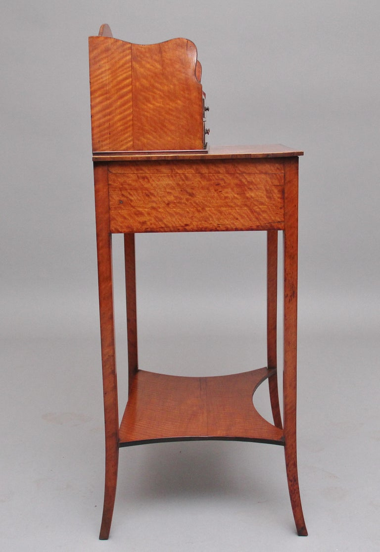 British 19th Century Satinwood Ladies Writing Table in the Sheraton Style For Sale