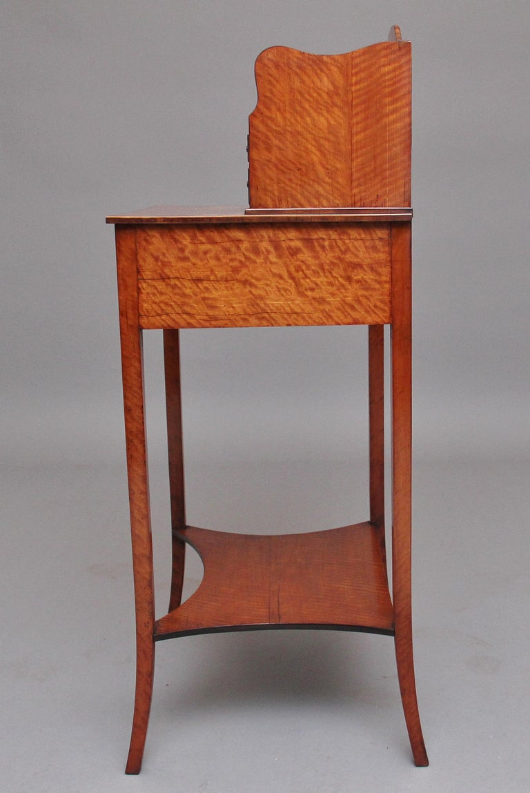 Late 19th Century 19th Century Satinwood Ladies Writing Table in the Sheraton Style For Sale