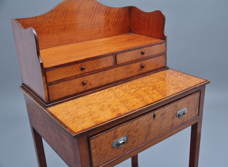 19th Century Satinwood Ladies Writing Table in the Sheraton Style For Sale 2