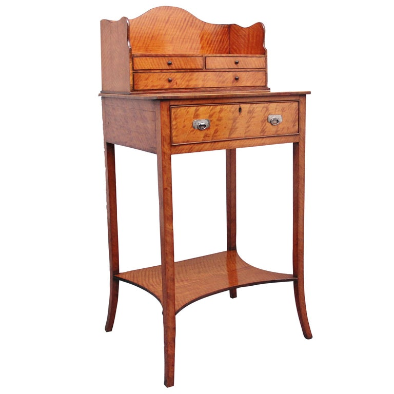 19th Century Satinwood Ladies Writing Table in the Sheraton Style For Sale