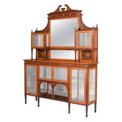 19th Century Satinwood & Mahogany Chiffonier Attributed to Wright & Mansfield