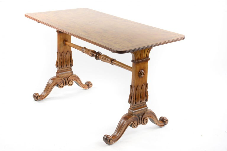 Victorian 19th Century Satinwood Rectangular Library Table For Sale