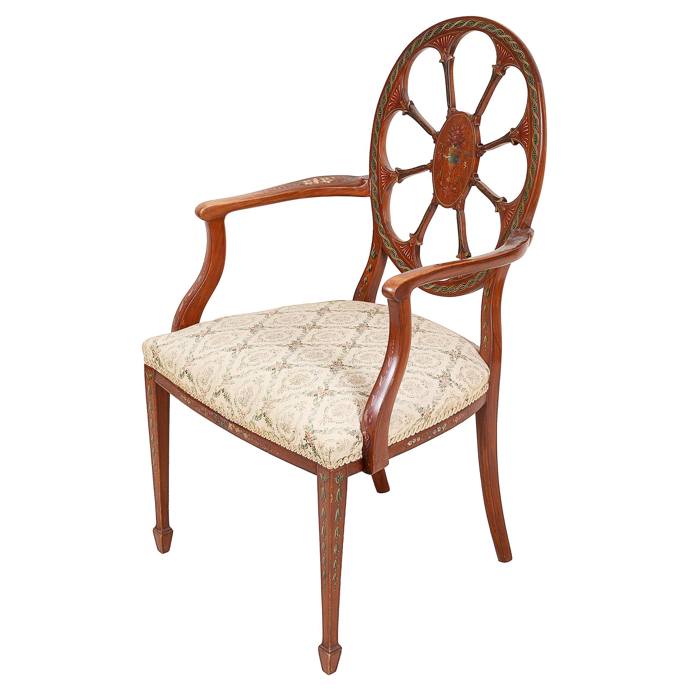 19th Century Satinwood Sheraton Revival Armchair