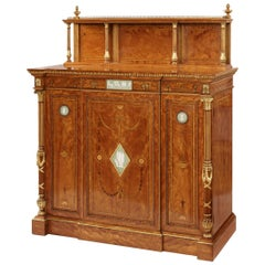 19th Century Satinwood Side Cabinet Applied with Green Wedgwood Plaques