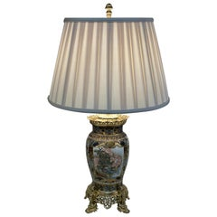 19th Century Satsuma Porcelain Dore Bronze Mounted Table Lamp