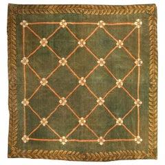19th Century Savonnerie Green Wool Carpet