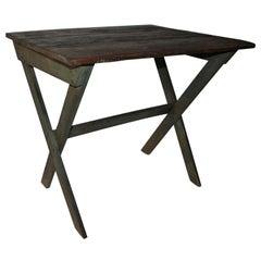 19th Century Sawbuck Table in Original Apple Green Paint