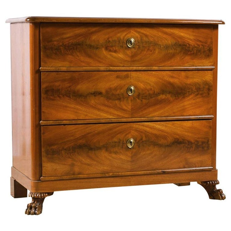 Danish Empire Chest of Drawers in West Indies Mahogany, Denmark, circa 1820 For Sale