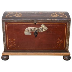 19th Century Scandinavian Painted Dome Top Trunk