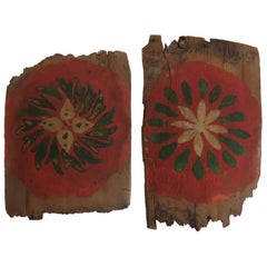 19th Century Scandinavian Pigment Hand Painted Wooden Shingles Fragments