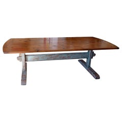 19th Century Scandinavian Pine Dining Table with Blue Painted Trestle Base