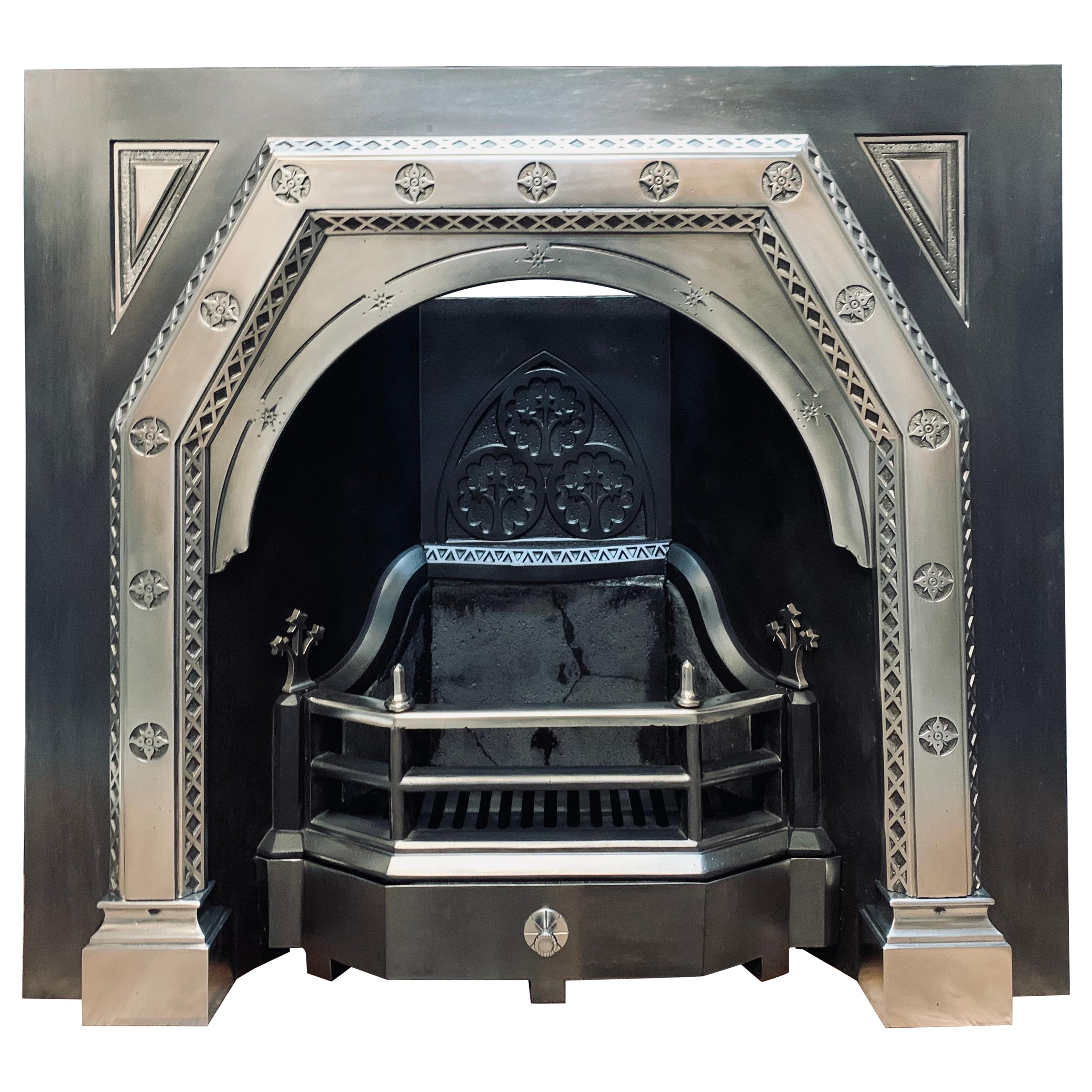 19th Century Scottish Aesthetic Movement Polished Cast Iron Fireplace Insert