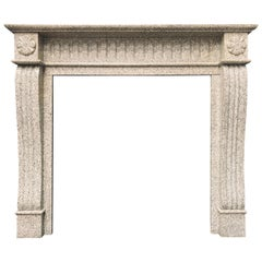 19th Century Scottish Baronial Style Carved Granite Fireplace Surround
