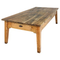 19th Century Scottish Estate Large Oak and Pitch Pine Kitchen Preparation Table