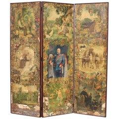 19th Century Scrap Work Folding Four-Panel Screen